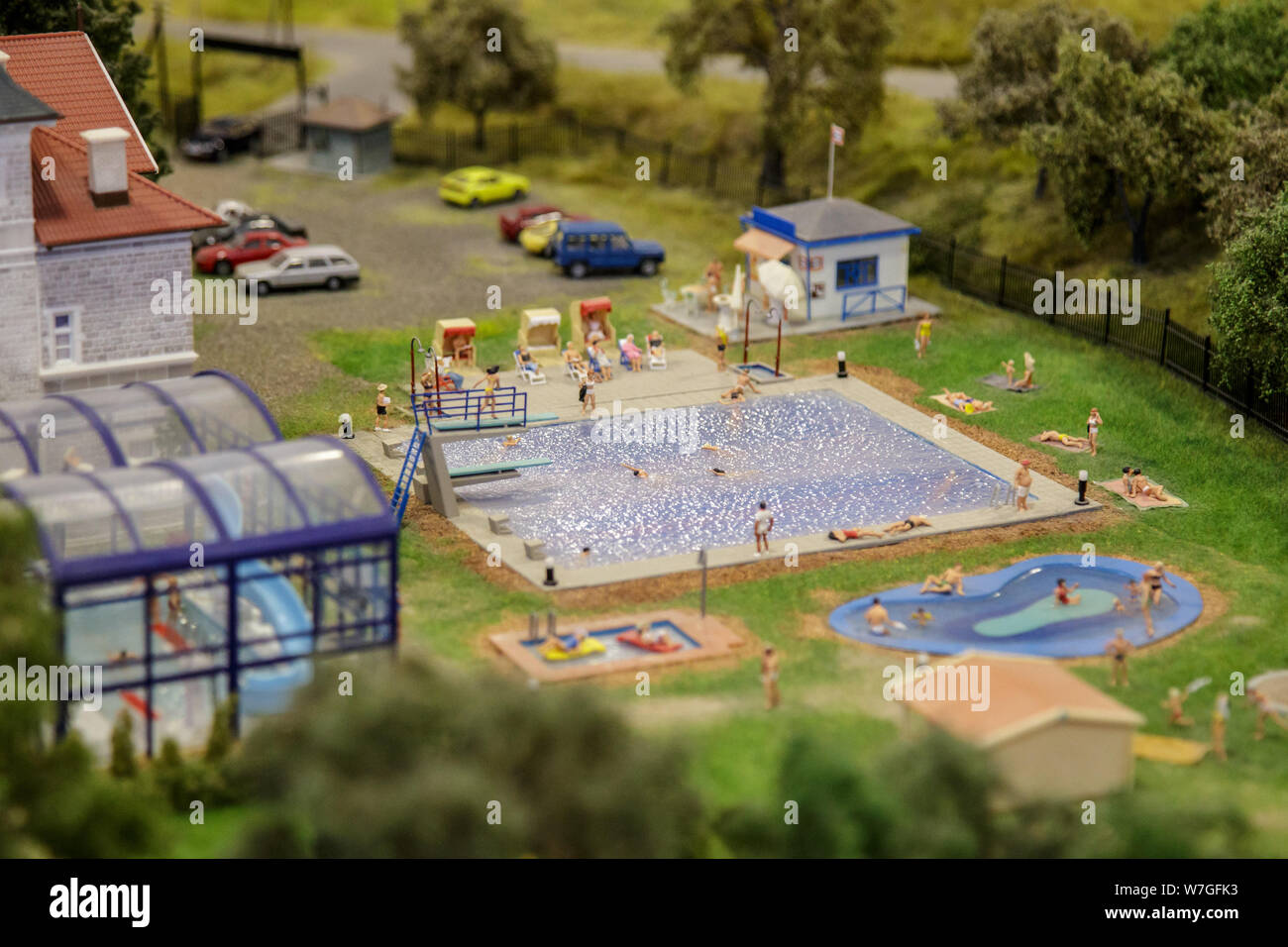 Budapest, Hungary, March 25, 2018: The maquette Of A Swimming Pool. Stock Photo