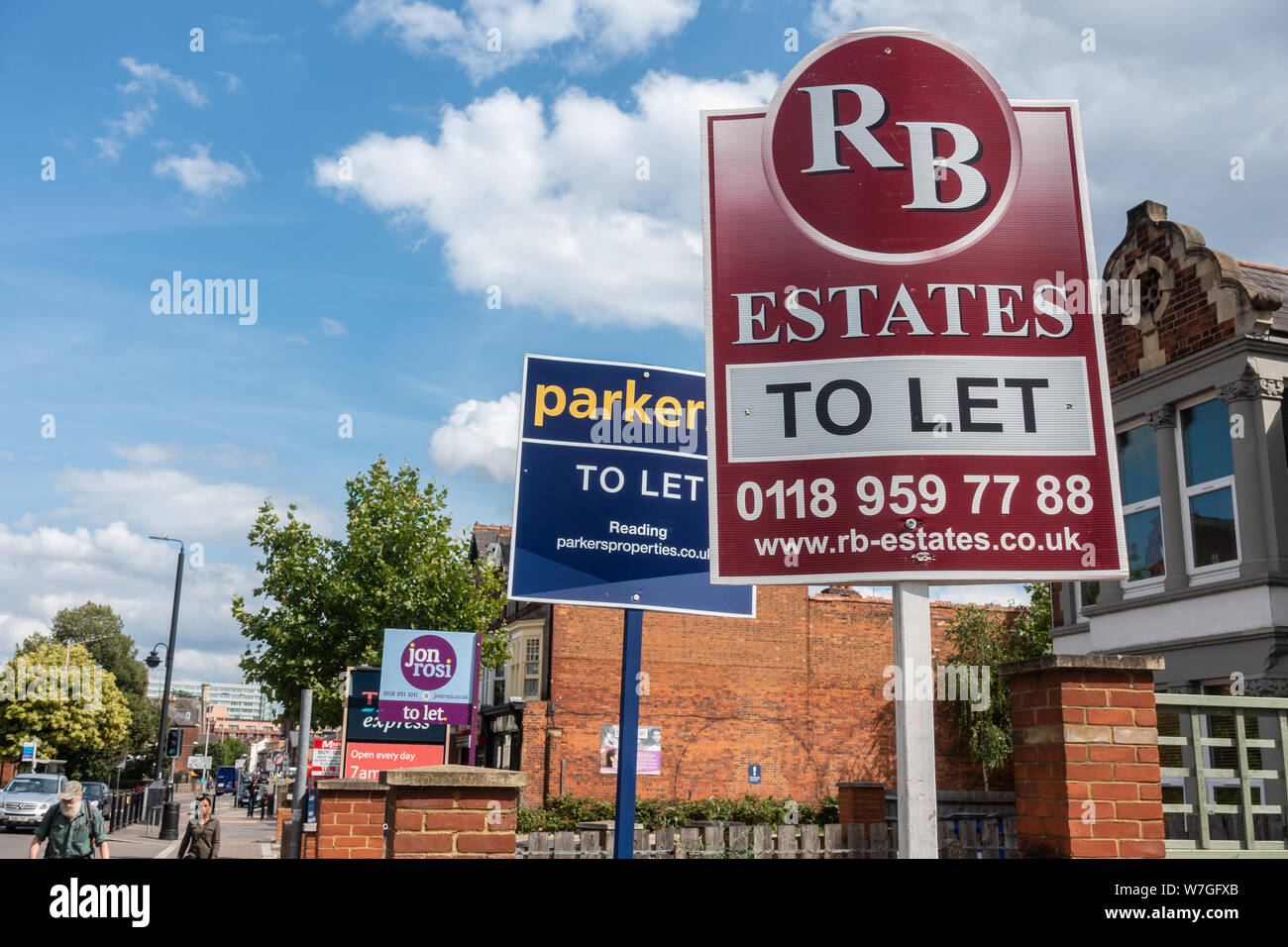 Estate agents' boards for homes available to rent on Oxford Street, Reading, UK Stock Photo