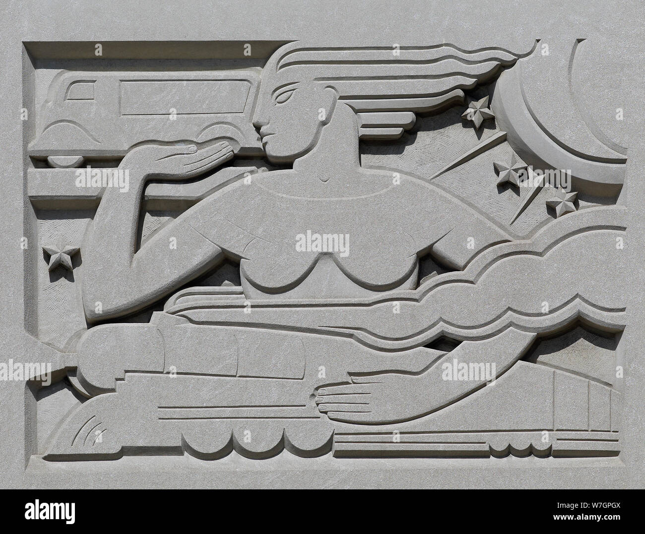 Bas relief Transportation & Distribution of the Mail, by Raymond Barger at the John O. Pastore Federal Building in Providence, Rhode Island Stock Photo