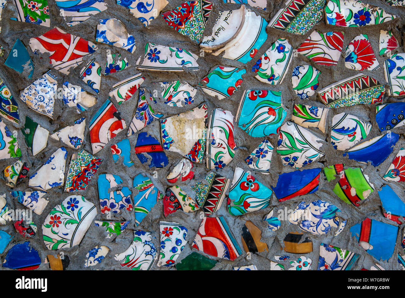 Broken Plate Colorful Debris Mosaic Background Abstract Art