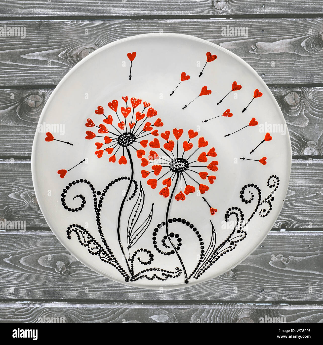 Decorative Ceramic Plate Hand Painted Dot Pattern With Acrylic Paints On A Wooden Background A Square Photo Closeup Stock Photo Alamy