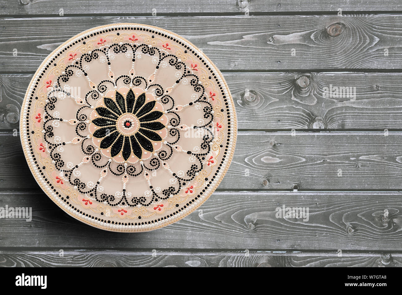 Decorative Ceramic Plate Hand Painted Dot Pattern With Acrylic Paints On A Gray Wooden Background Copy Space Stock Photo Alamy