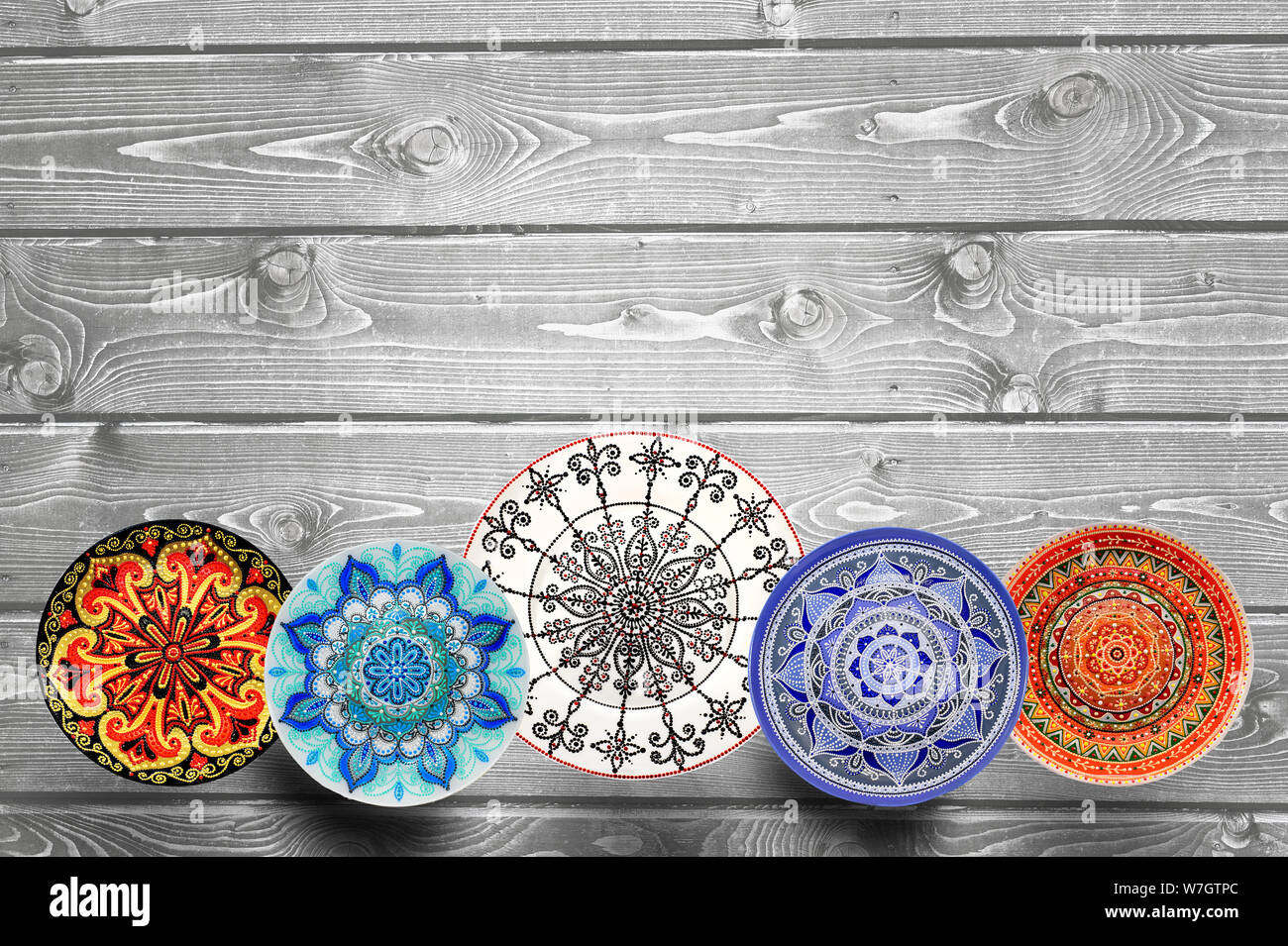 Set Of Decorative Ceramic Plates Hand Painted With Acrylic