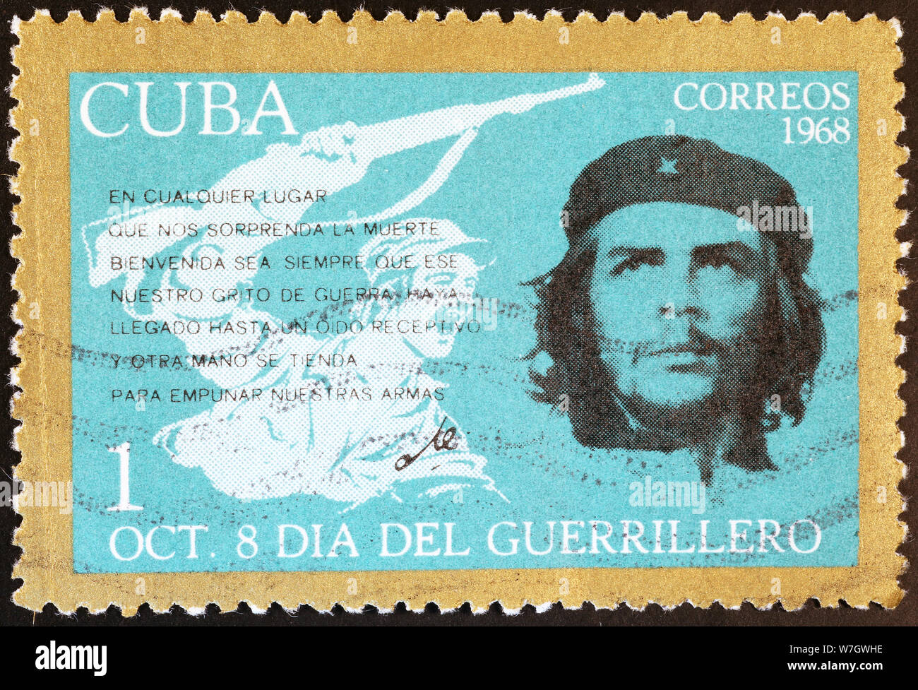 Che Guevara and guerrillero on cuban postage stamp Stock Photo