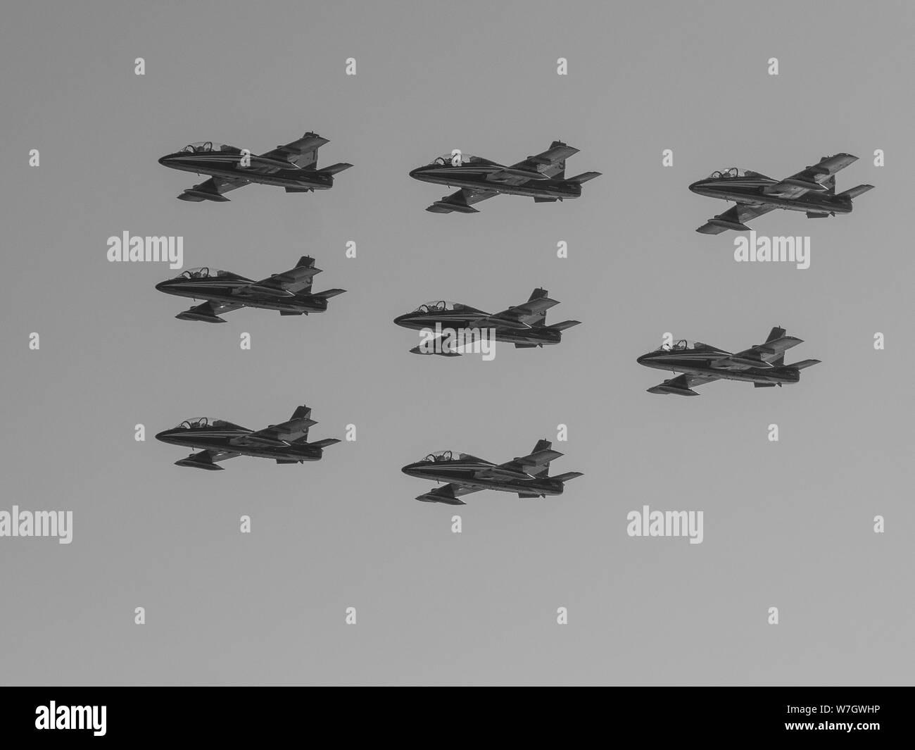 Acrobatic air show in ladispoli, italy Stock Photo