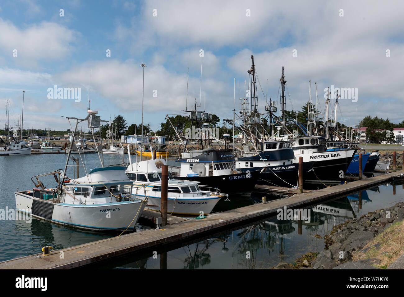 Boat marina in Crescent City, California Stock Photo