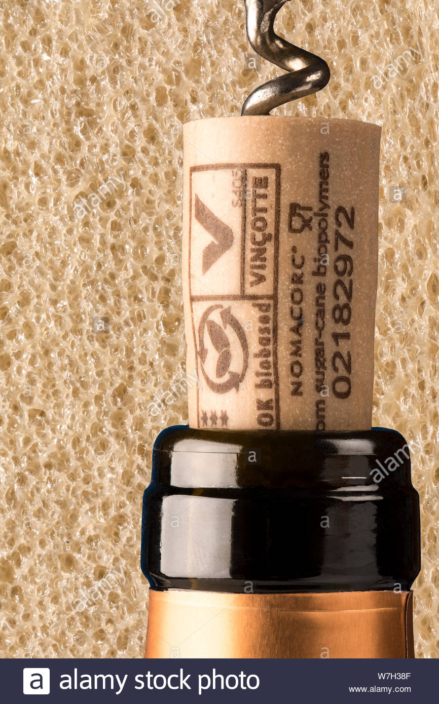 """Artificial cork. With a similar structure to cork it has the advantage that it will not """"cork"""" the wine while still being bio degradable. Stock Photo"""