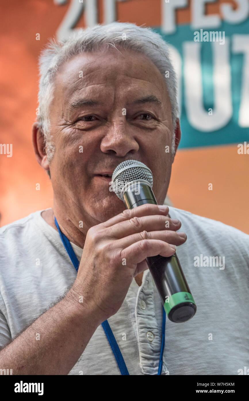 Jacques Guérin, directeur du festival, Festival Bout du Monde 2019 à Crozon Brittany Stock Photo