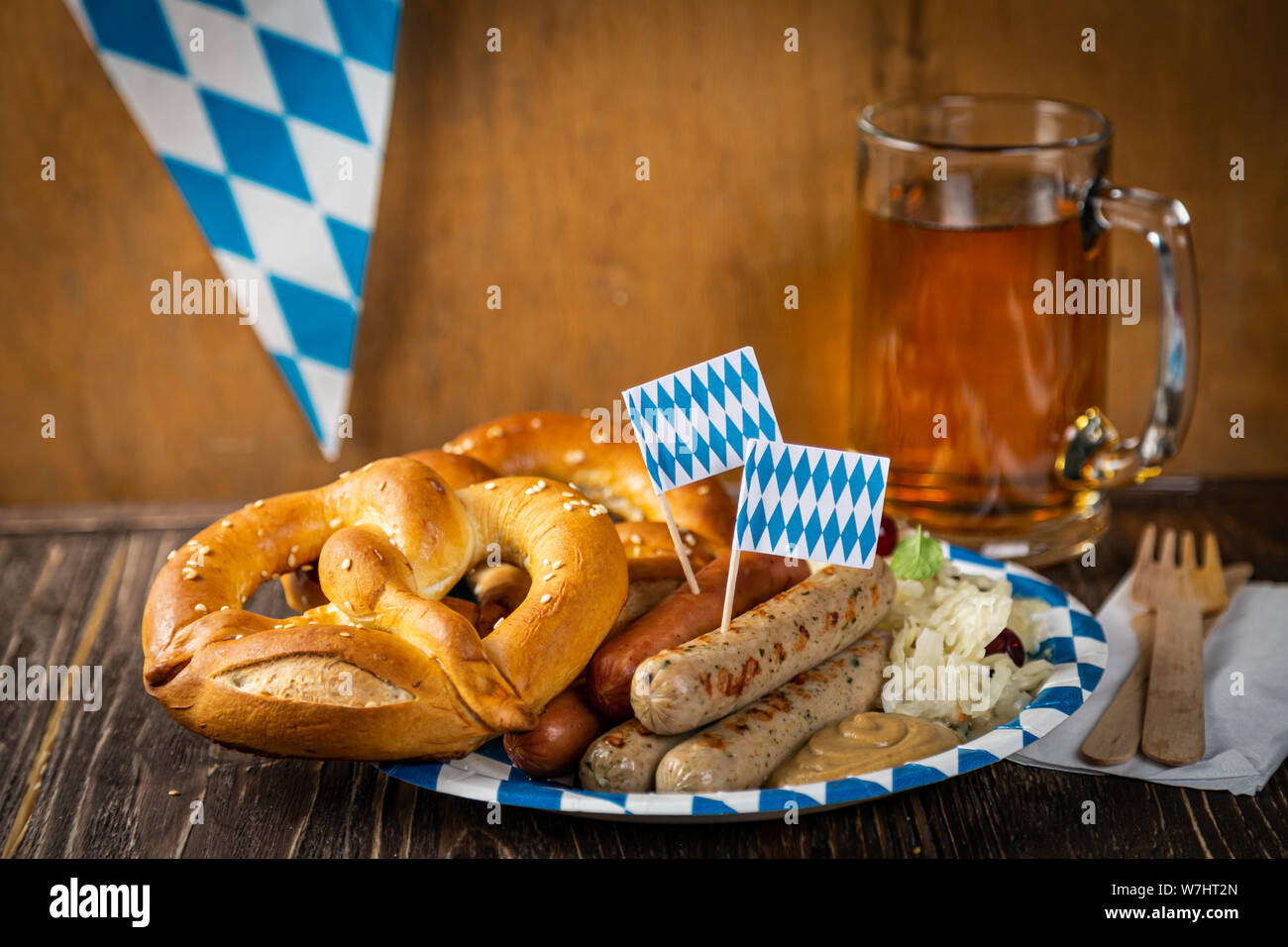 October fest concept - traditional food and beer served at event Stock Photo
