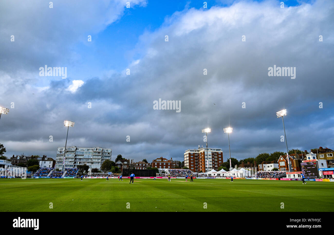 Hove Sussex UK 6th August 2019 - The Vitality T20 Blast cricket match between Sussex Sharks and Glamorgan at the 1st Central County ground in Hove Credit : Simon Dack / Alamy Live News Stock Photo