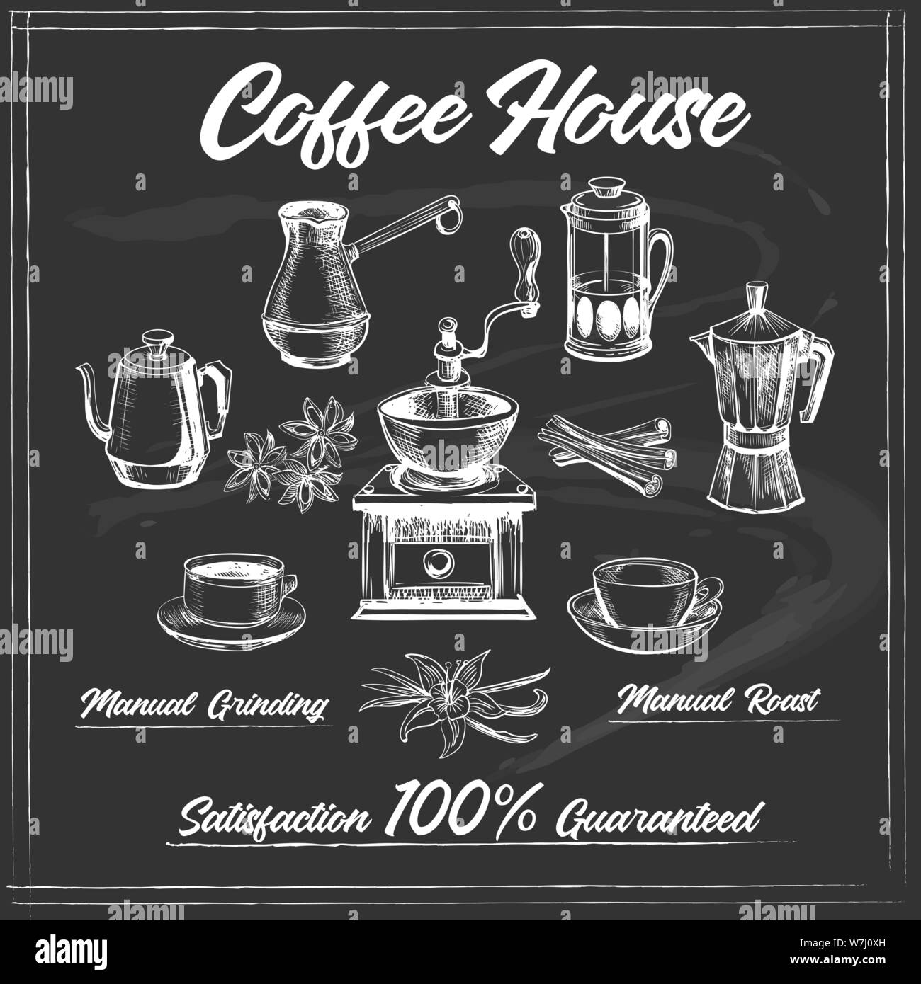 Coffee House Poster On Chalk Board Coffeeshop Decor Design Like Old Black Chalkboard Posters Vector Illustration Stock Vector Image Art Alamy