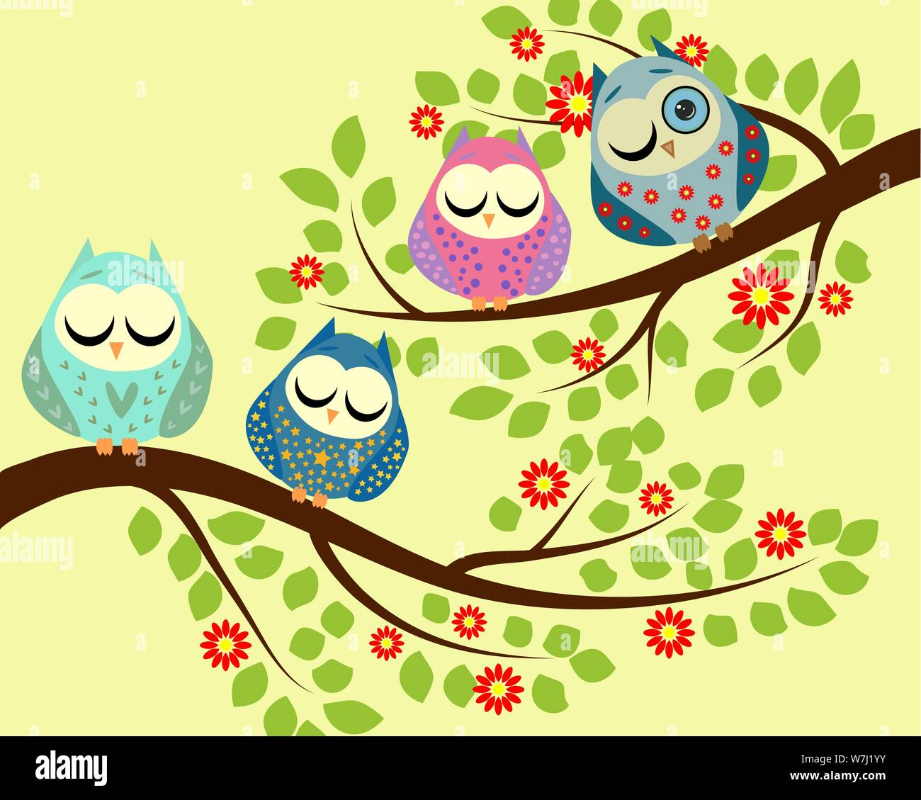 Spy Four Bright Cartoon Owls Sleeping On The Branches Of A Blossoming Tree One Owl With An Open Eye Stock Vector Image Art Alamy Download this vector owl, owl clipart, cute owl, cartoon owl png clipart image with transparent background or psd file for free. https www alamy com spy four bright cartoon owls sleeping on the branches of a blossoming tree one owl with an open eye image262854815 html