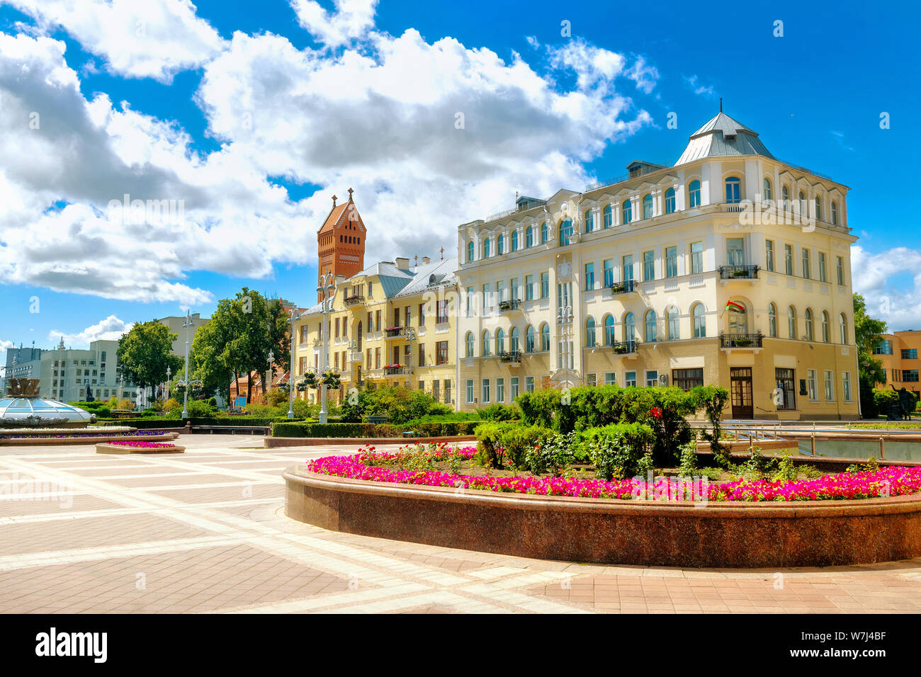 View of Independence square at sunny summer day. Minsk, Belarus Stock Photo