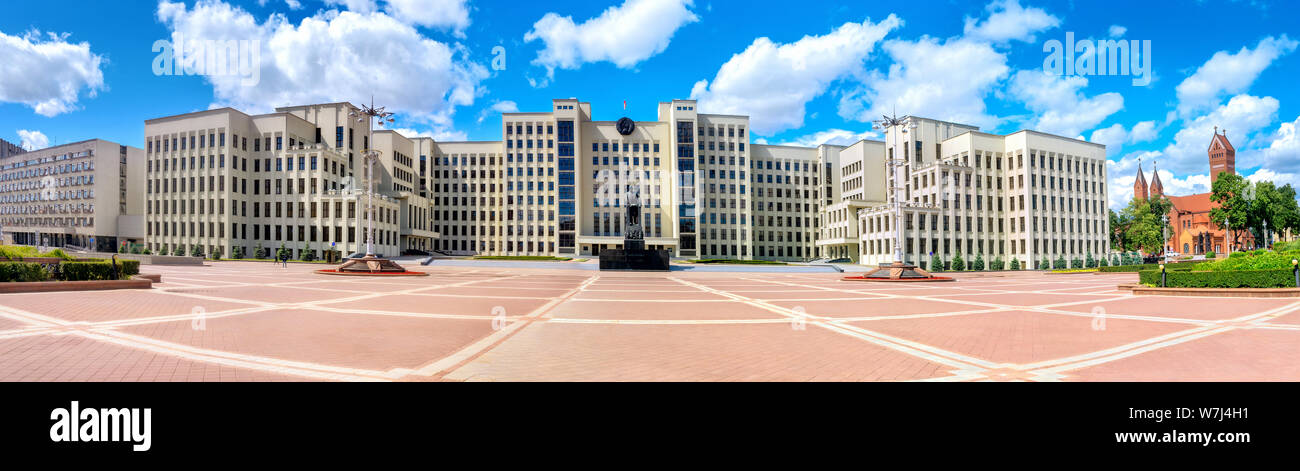 Panoramic view of Government House with monument Lenin on Independence square in Minsk, Belarus Stock Photo