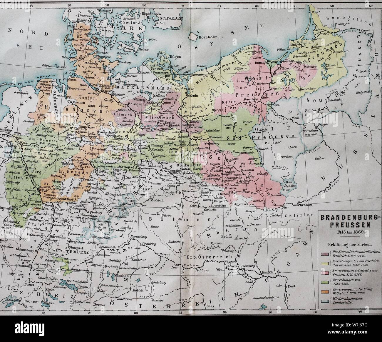 Map, Brandenburg-Prussia from 1415-1869, historical
