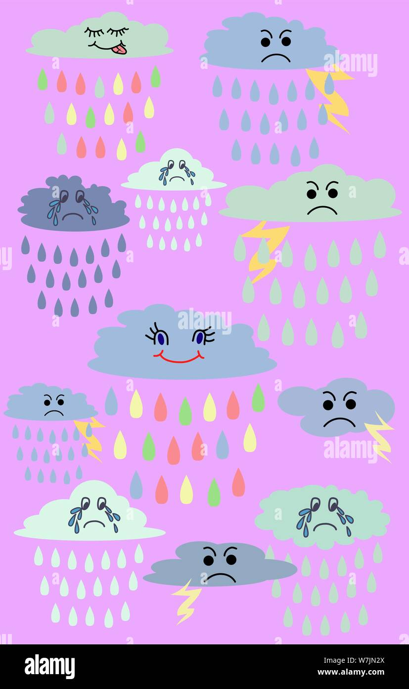 lovely cute clouds kawaii style set of emoticons emoji smile icons isolated illustration W7JN2X