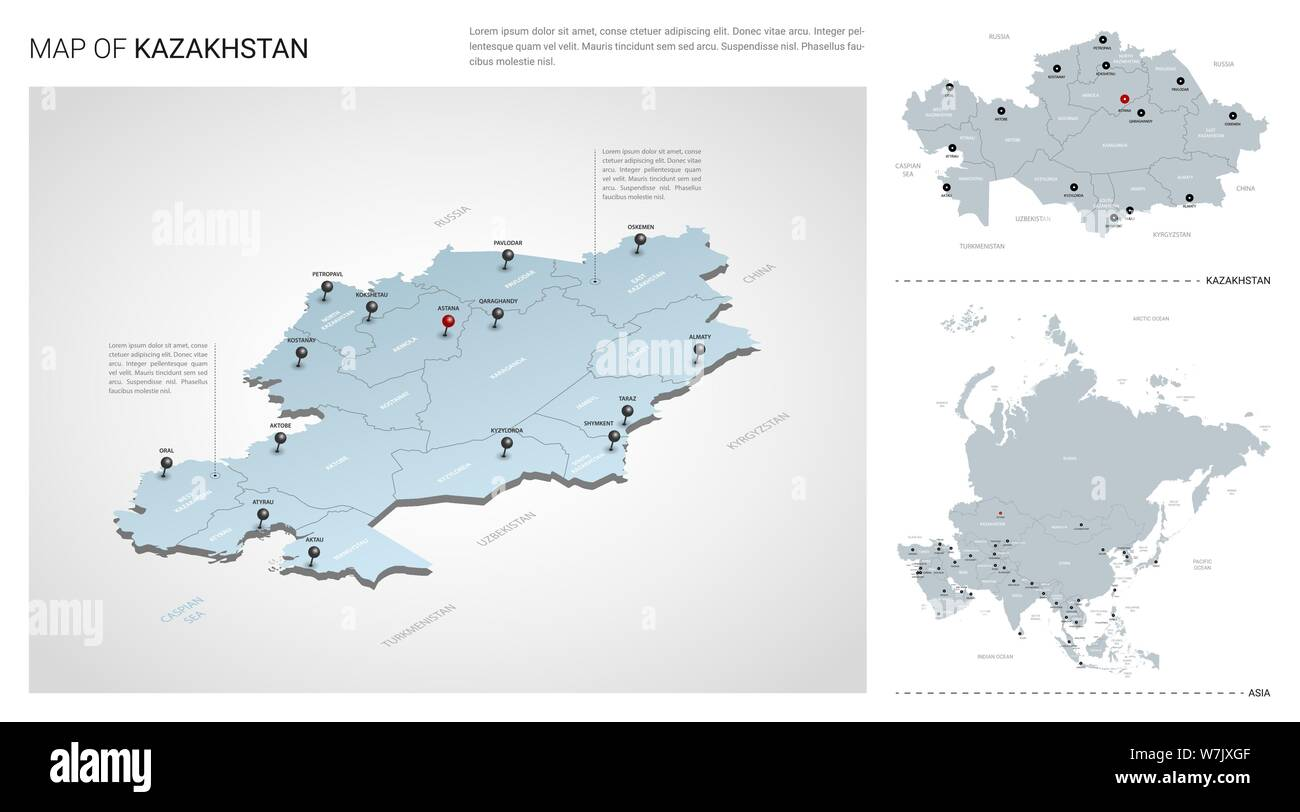 Vector set of Kazakhstan country. Isometric 3d map ...