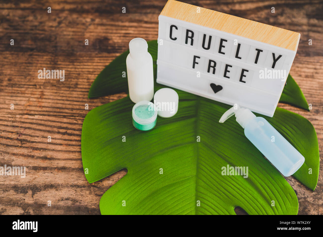 cruelty free message on lightbox with skincare products, concept of vegan products and ethics Stock Photo