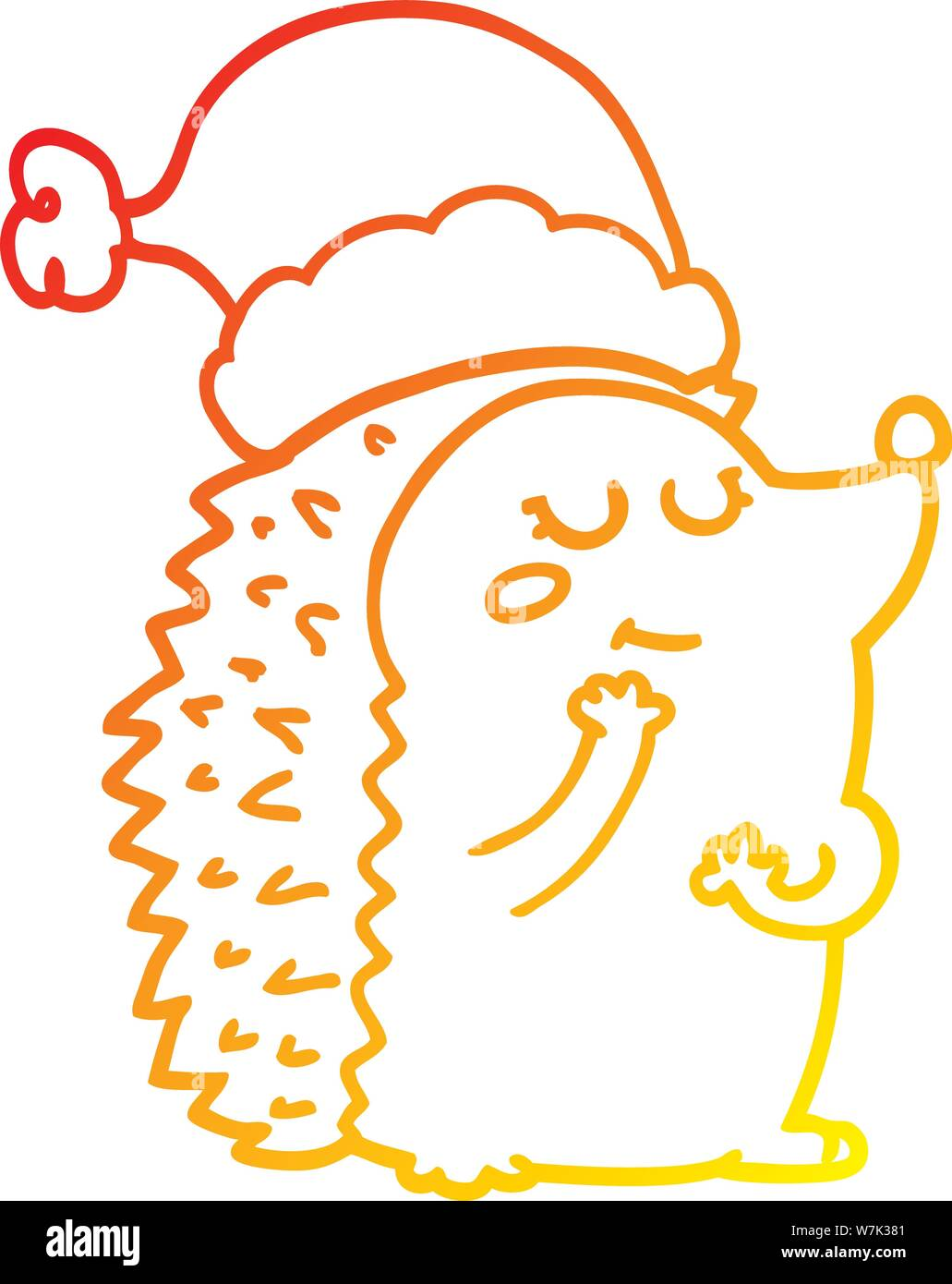 Christmas Hat Drawing.Warm Gradient Line Drawing Of A Cartoon Hedgehog Wearing