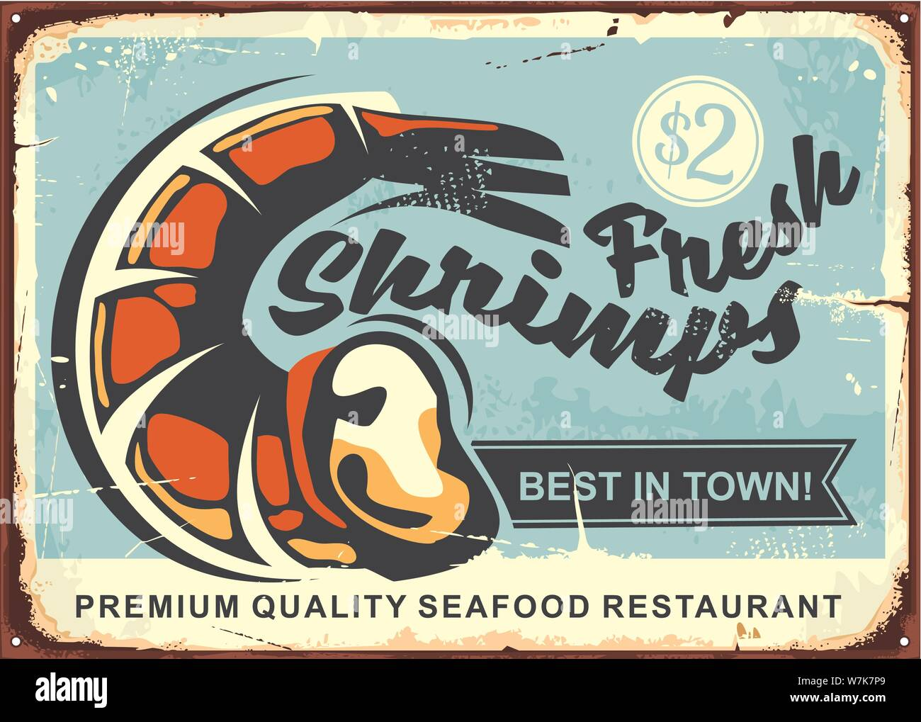 Fresh Shrimps Vintage Sign Design Best Seafood Restaurant In Town Retro Poster Vector Illustration Food And Drink Theme Stock Vector Image Art Alamy