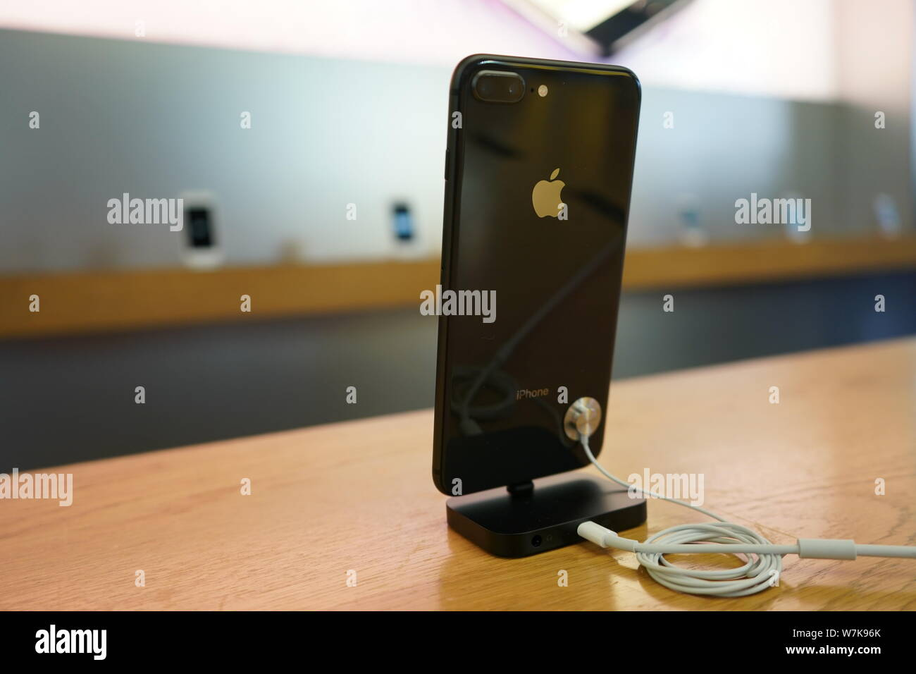 An iPhone 8 Plus smartphone is on display at the Apple Store in the Sanlitun shopping area in Beijing, China, 22 September 2017.   Apple Inc's launch Stock Photo
