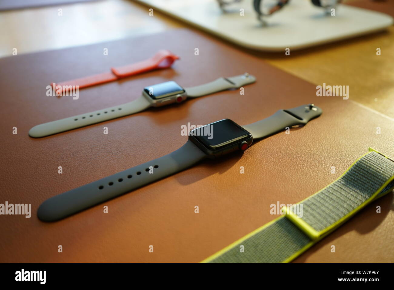 View of Apple Watch Series 3 on display at the Apple Store in the Sanlitun shopping area in Beijing, China, 22 September 2017.   Apple Inc's launch of Stock Photo