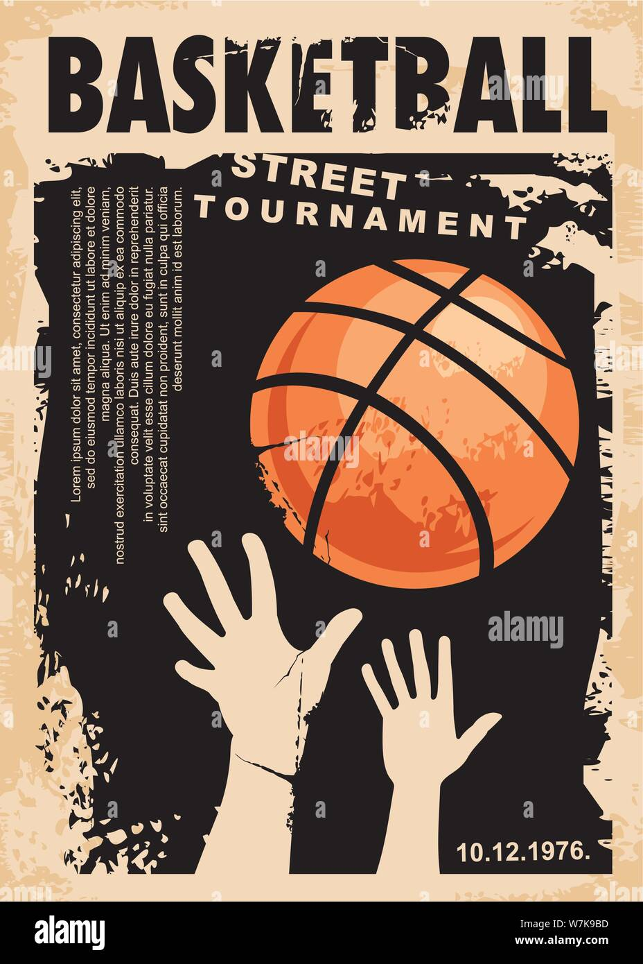 Street basketball grunge poster design layout. Street ball game ...