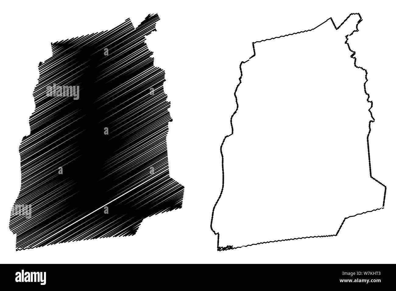 Atlantique Department (Departments of Benin, Republic of Benin, Dahomey) map vector illustration, scribble sketch Atlantique map Stock Vector