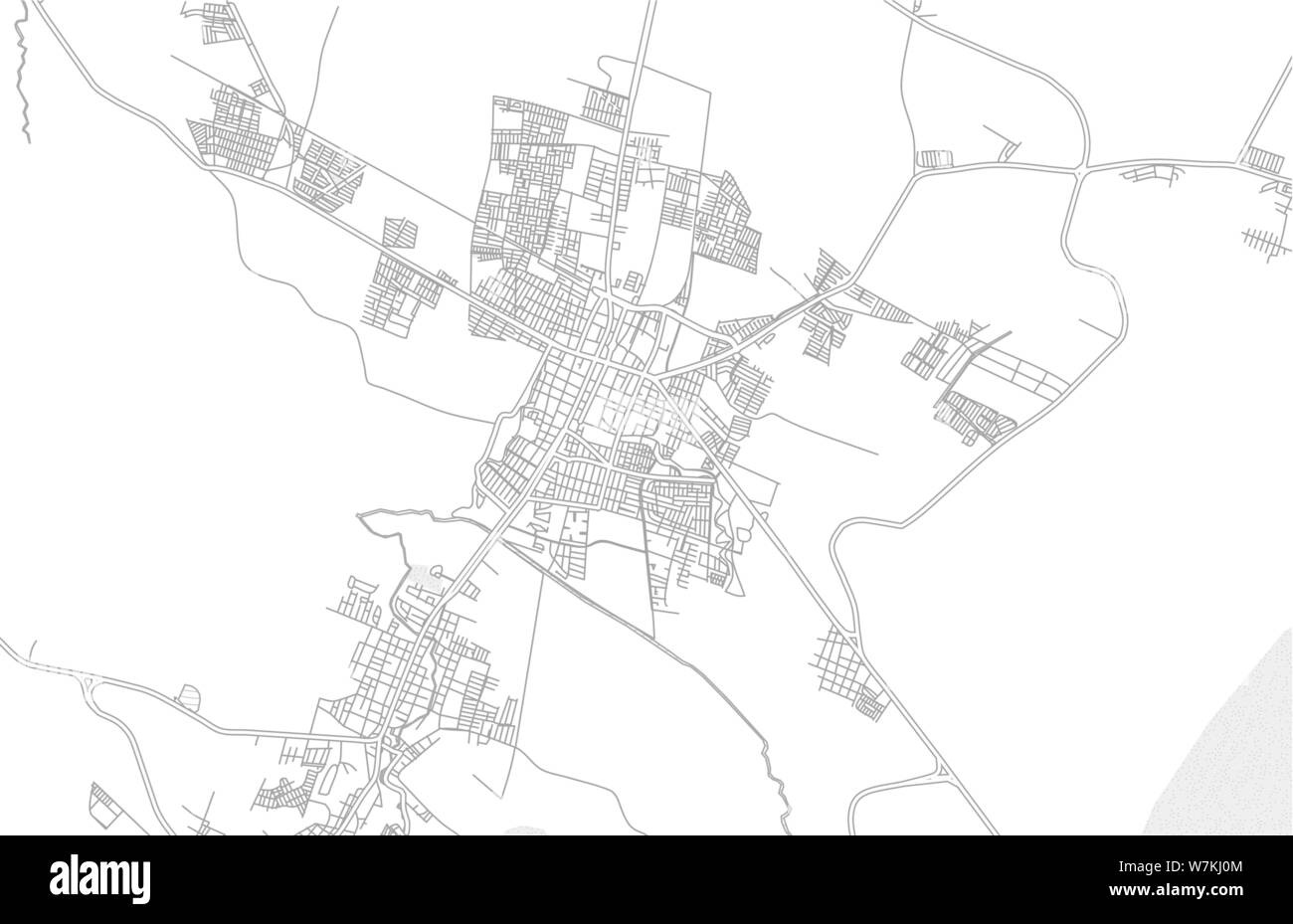 Zamora, Michoacán, Mexico, bright outlined vector map with ...
