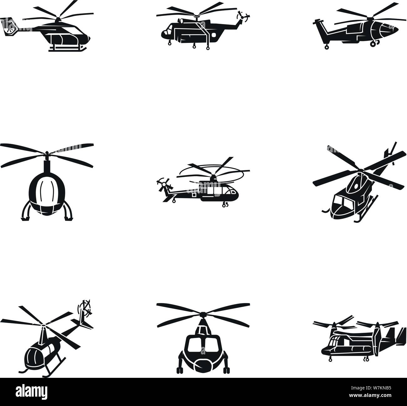 Helicopter transport icon set. Simple set of 9 helicopter transport vector icons for web design isolated on white background Stock Vector