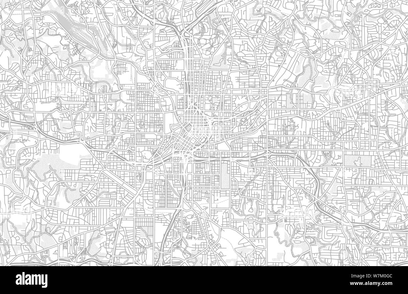 Atlanta, Georgia, USA, bright outlined vector map with ...