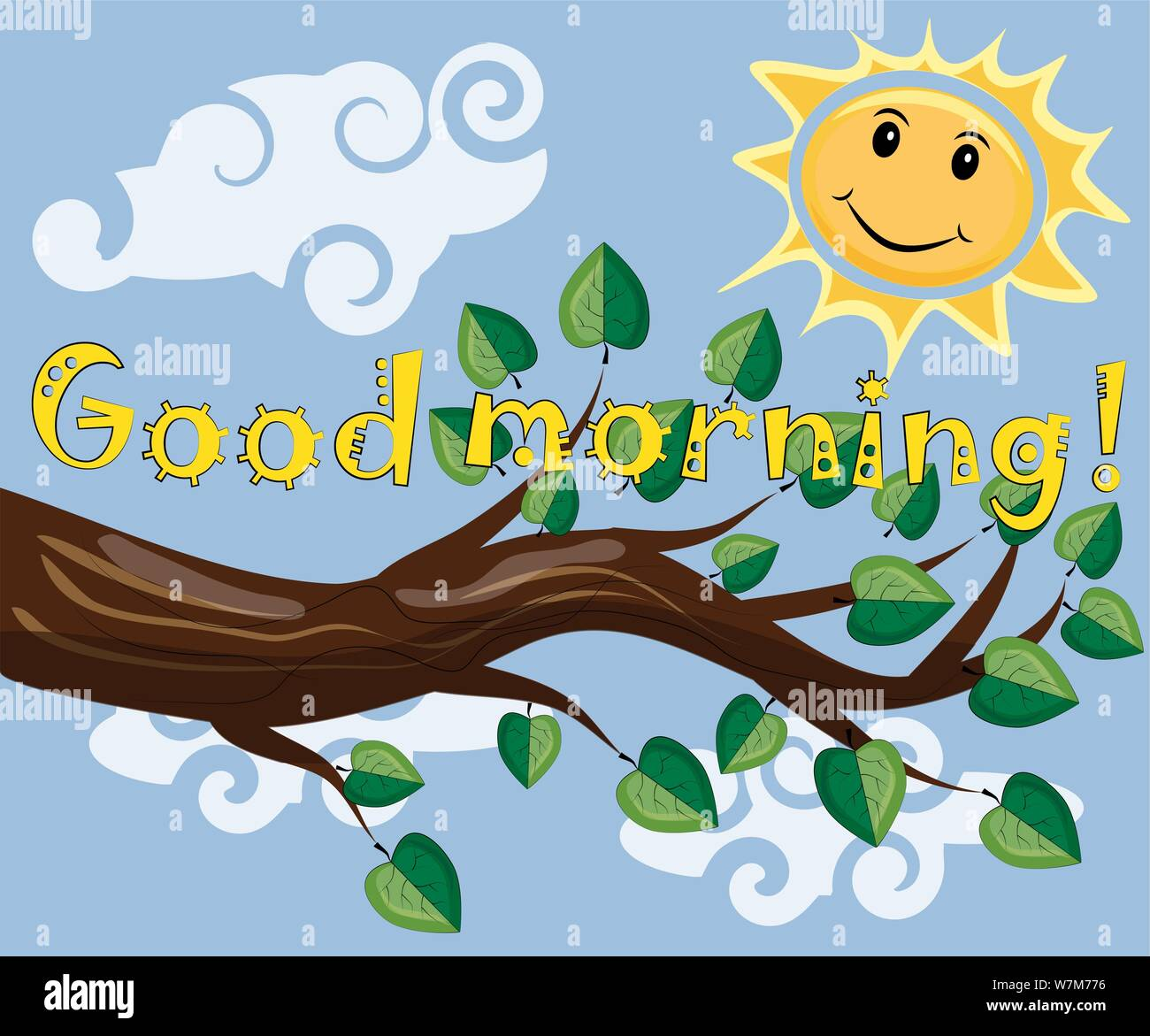 In The Morning The Sun Shines And Smiles Inscription Good Morning Morning Breakfast Stock Vector Image Art Alamy
