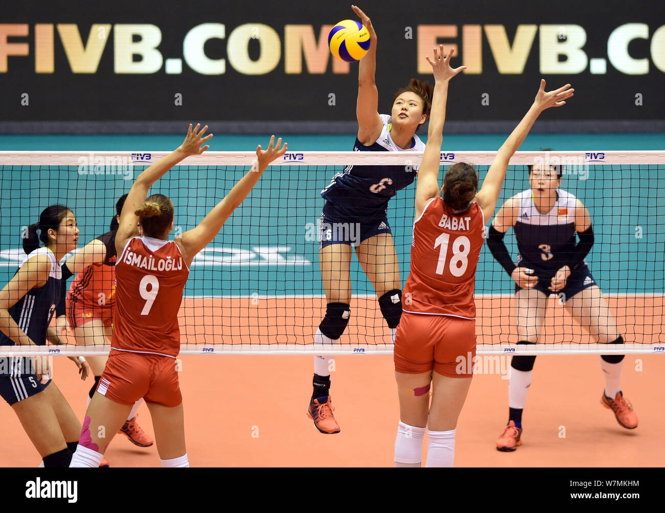Gong Xiangyu Left Of China Spikes Against Meliha Ismailoglu And Dicle Nur Babat Of Turkey During The Pool E1 Group 1 Match Of The Fivb World Grand P Stock Photo Alamy