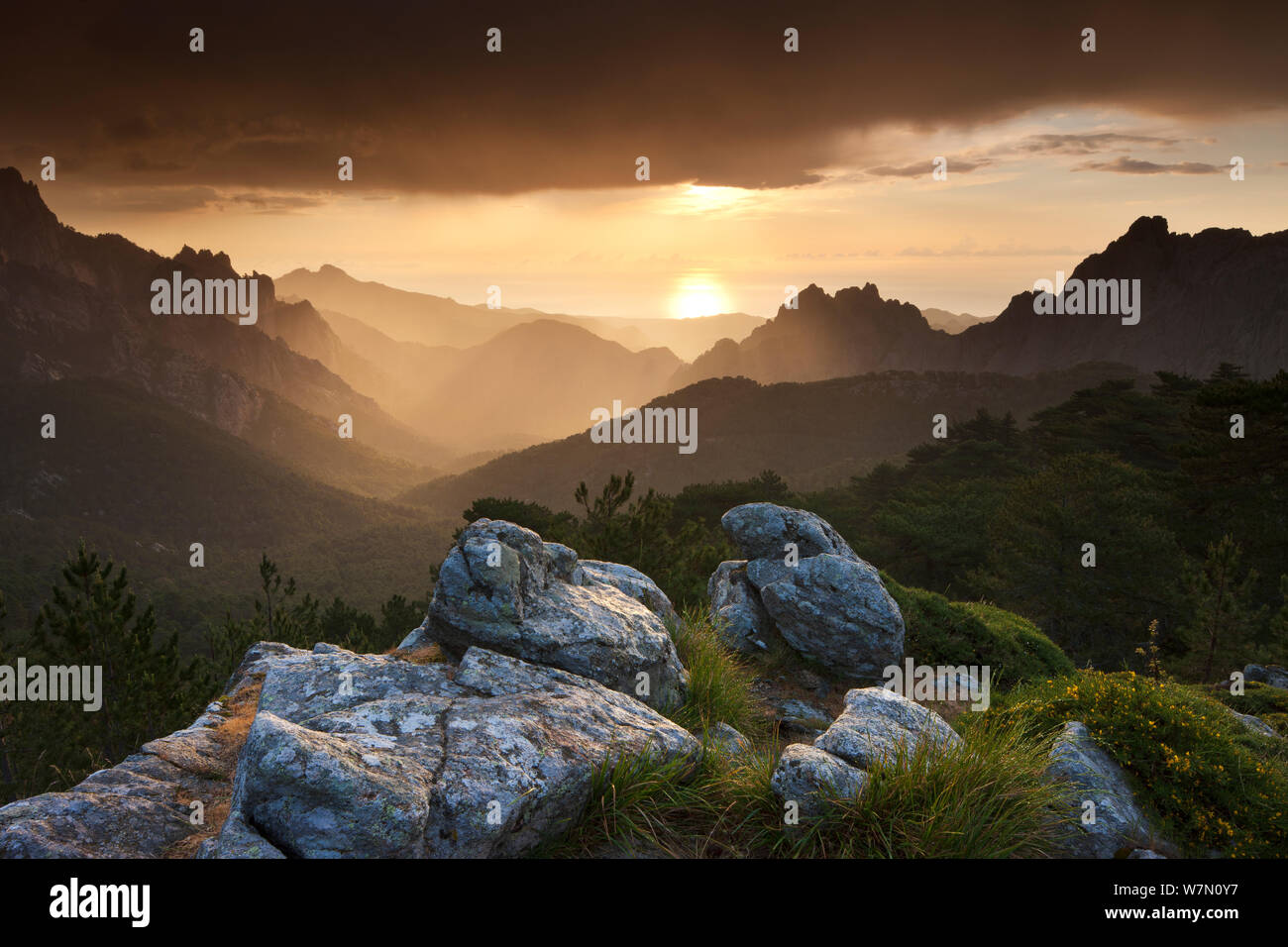 The Col de Bavella at dawn, Corsica, France. June 2011. Stock Photo