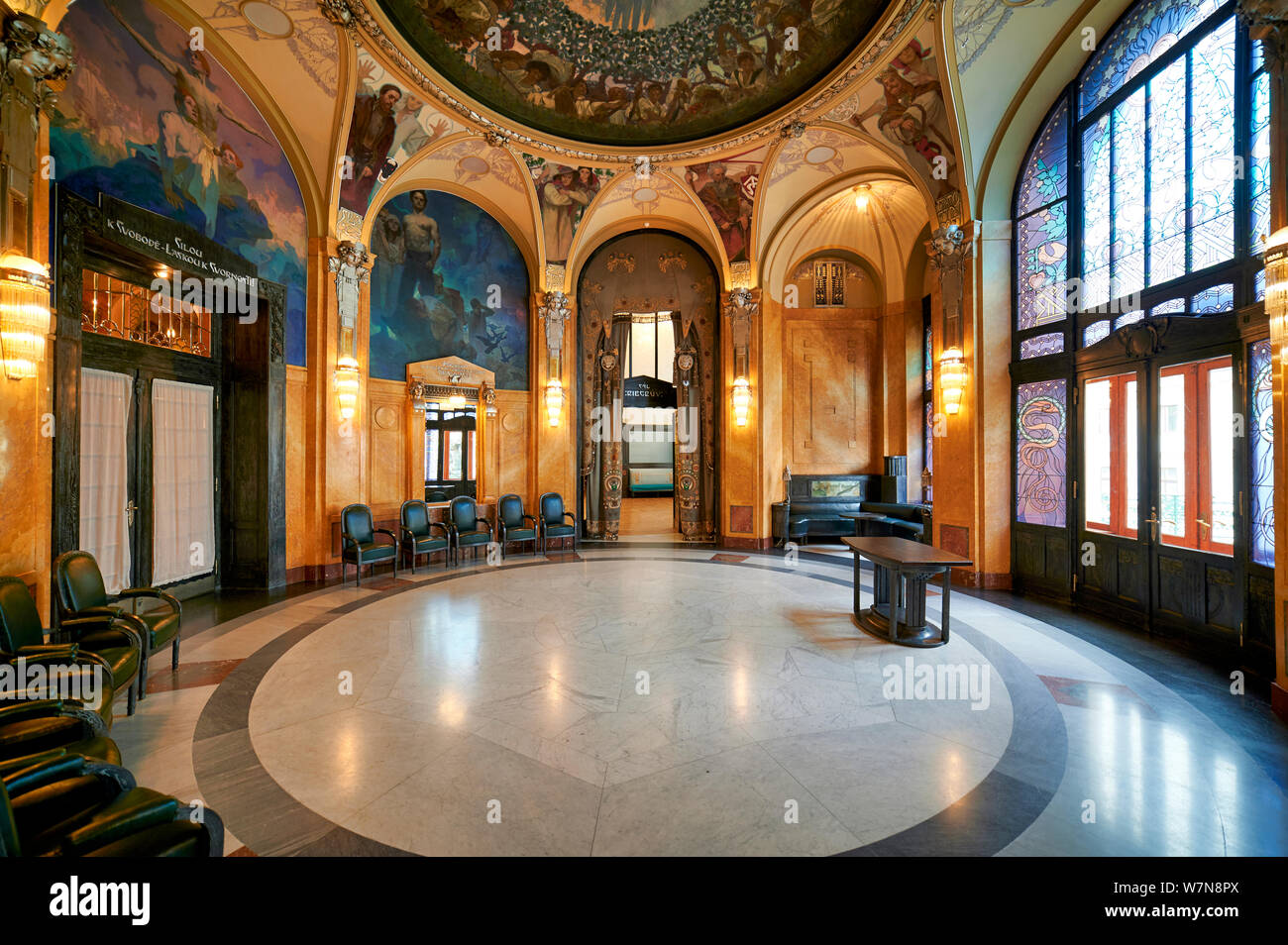 Prague Czech Republic. Decorated rooms inside the Municipal House Stock Photo