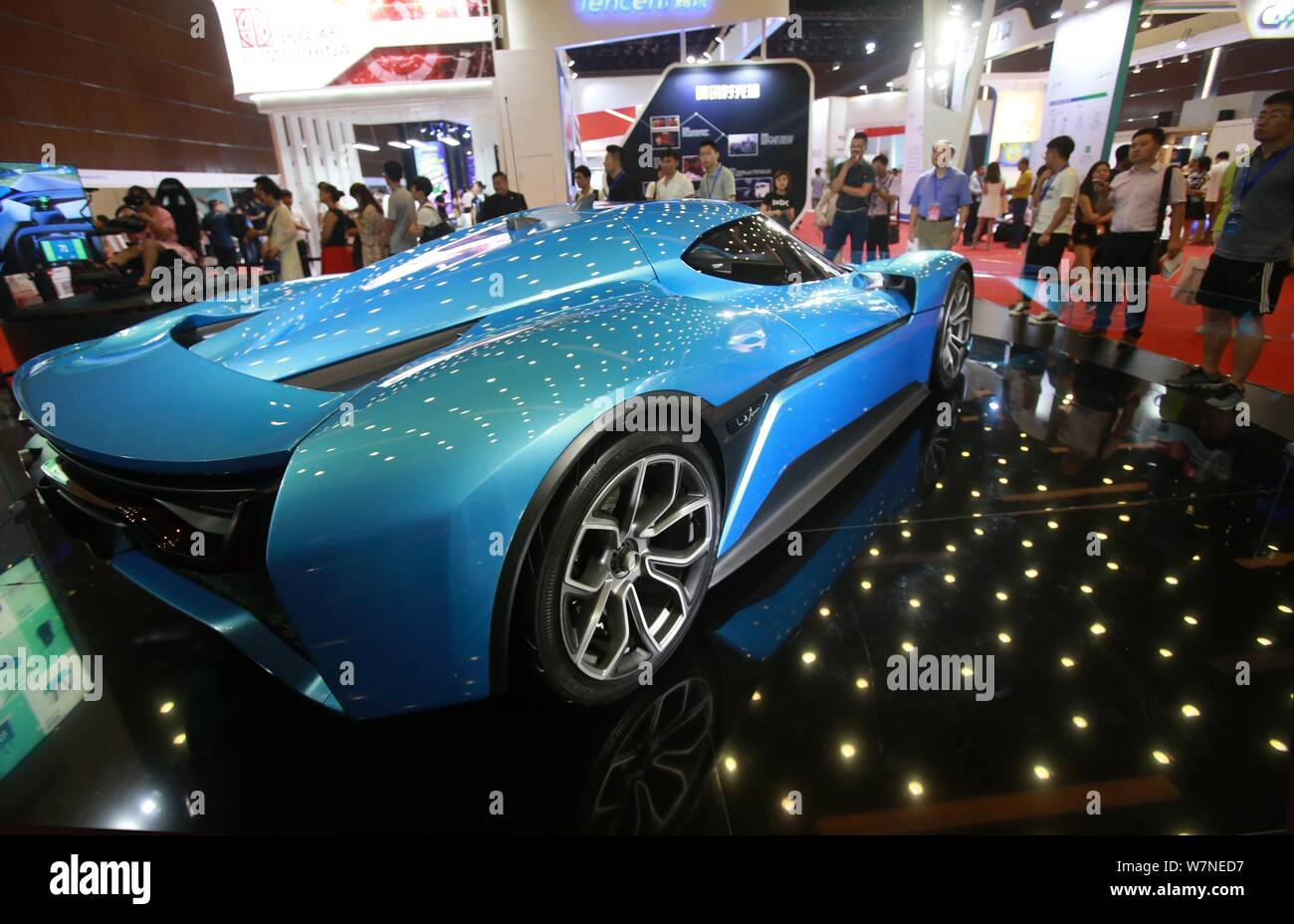 Visitors Look At The World S Fastest Electric Supercar Nextev Nio Ep9 Displayed During The 18th China Internet Conference At China National Convention Stock Photo Alamy