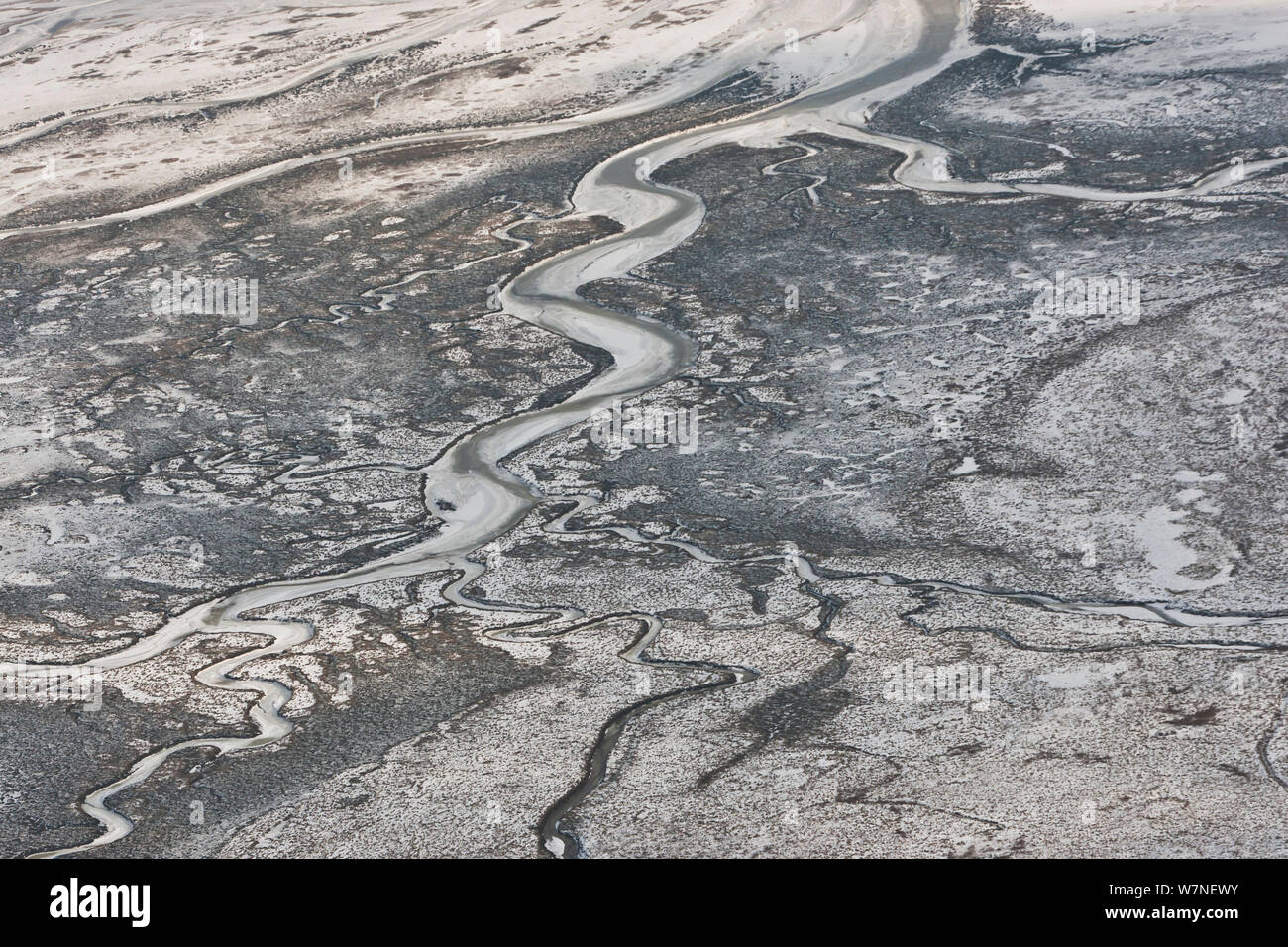 Aerial view of tidal creeks in saltmarshes on Memmert Island, in winter with snow, Ranzelwatt National Park near Borkum, Wadden Sea of Lower Saxony, East Frisia, Lower Saxony, Germany February 2012 Stock Photo