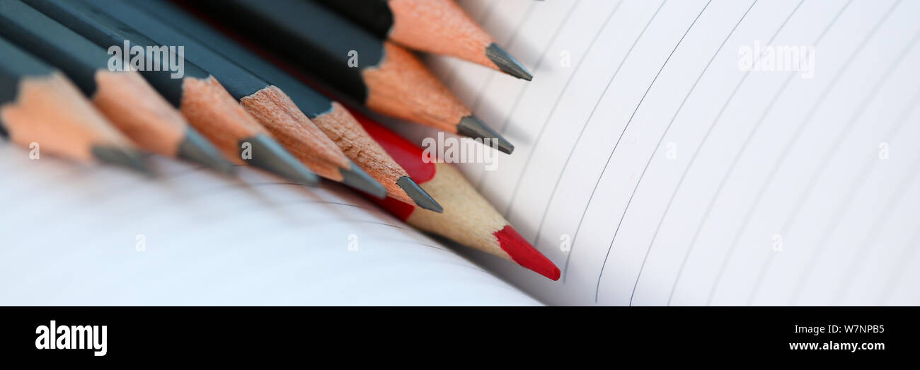 Red pencil standing out from crowd of plenty Stock Photo