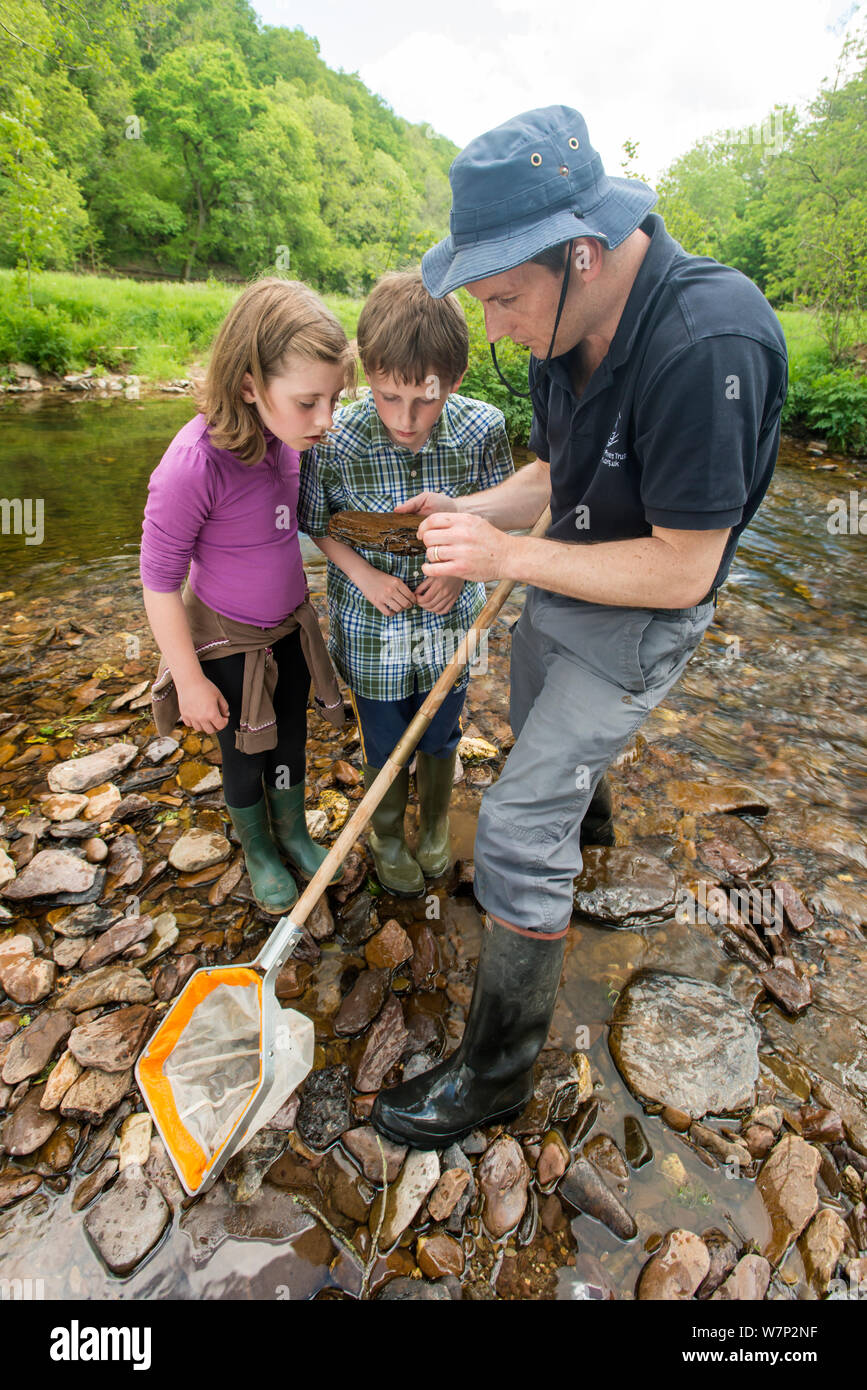 School children looking at rock from the River Haddeom whilst doing invertebrate kick samples, with Westcountry Rivers Trust (WRT) warden. Bury, Exmoor National Park, Somerset, UK. May 2012. Stock Photo