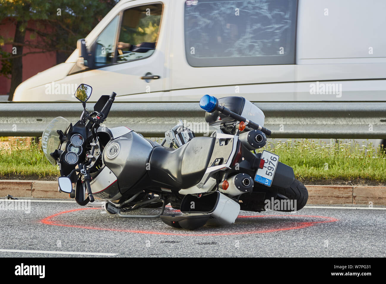 Motorcycle Road Accident Stock Photos & Motorcycle Road