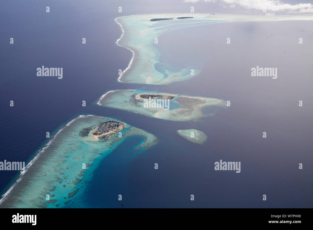 Aerial view of coral atolls, Maldives, December 2009 Stock Photo