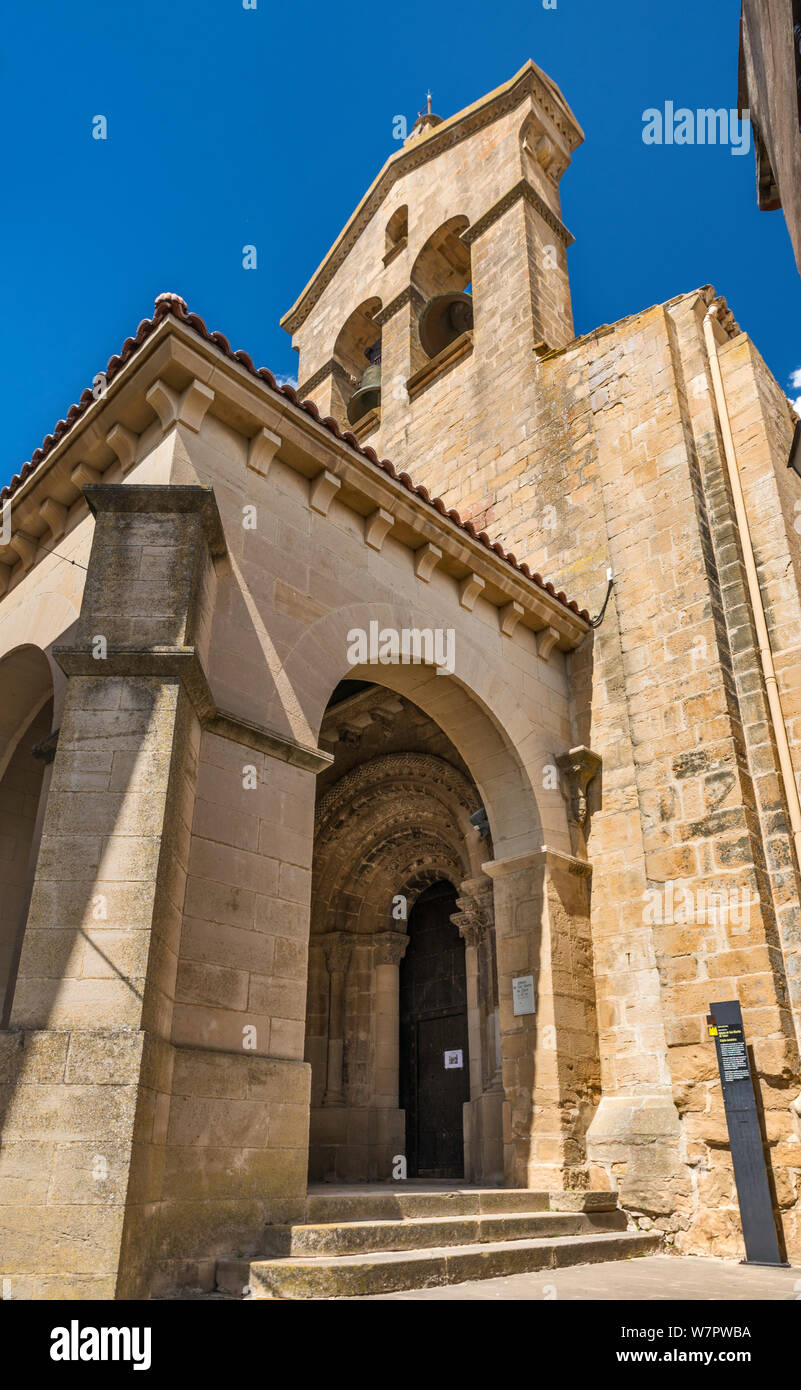 Bell gable at Iglesia de San Martin de Tours, 12th century church, in hill town of San Martin de Unx, near Olite, Navarra, Spain Stock Photo