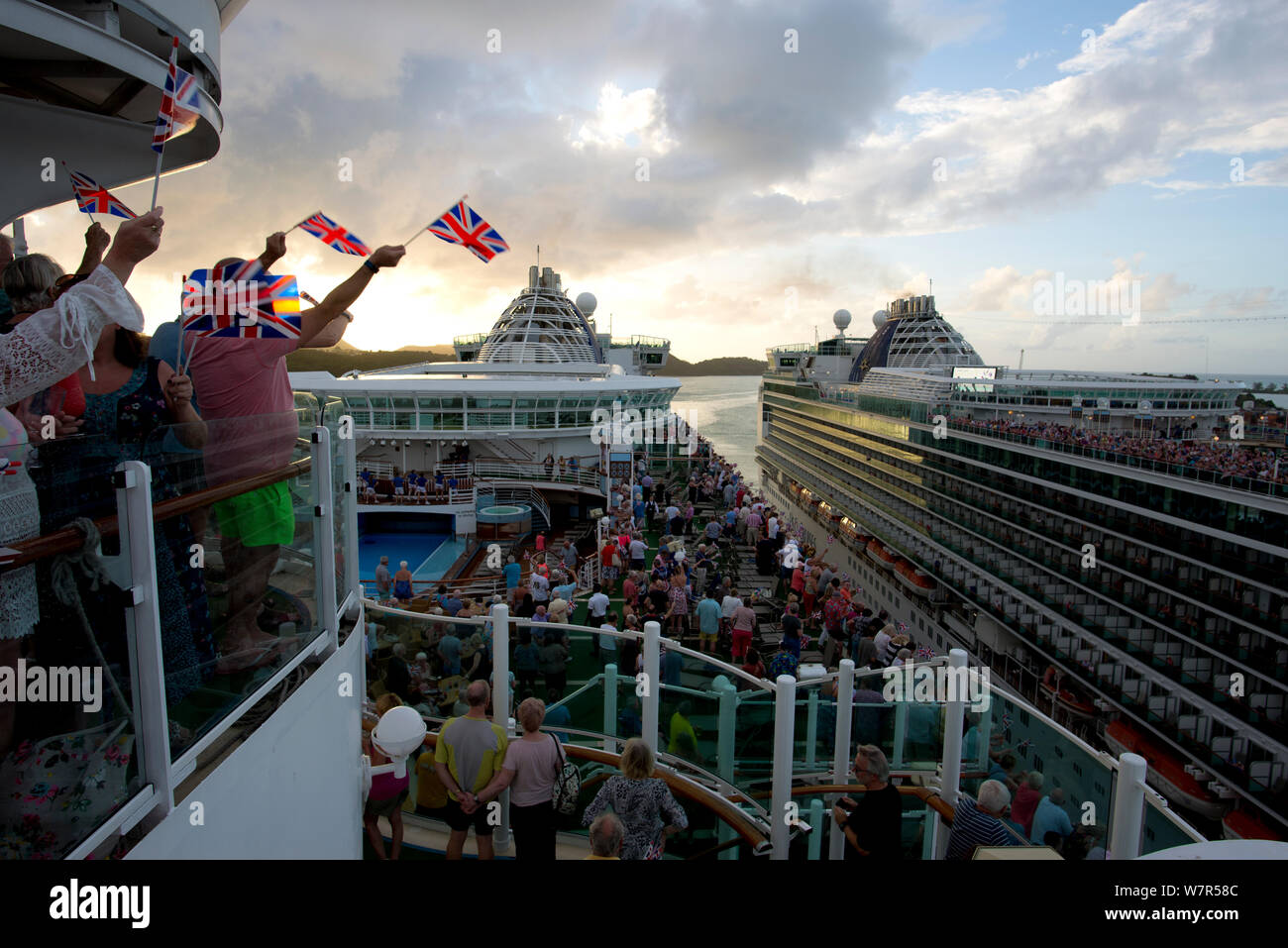 Great British Sail away party onboard Ventura with Azura in the background Stock Photo