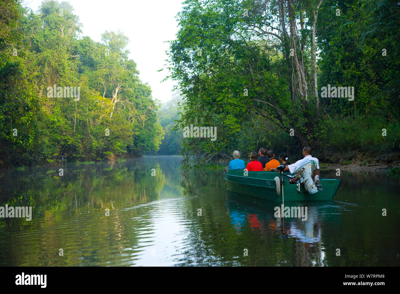 Toursists in a boat moving up the River Kinabatangan through lowland rainforest, Sabah, Malaysia, Borneo. Stock Photo