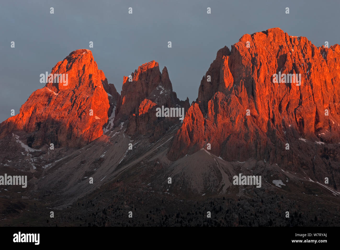 Lankofel Group (with Grohmannspitze, Fuenffingerspitze and Langkofel) in the Dolomites at sunrise, view from Sella Pass, Italy, May. Stock Photo