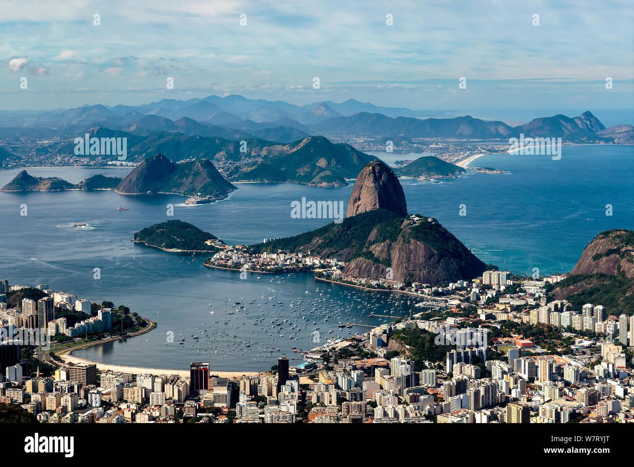 Sugar Loaf Mountain seen from the Corcovado Mountain, Rio de Janeiro Stock Photo