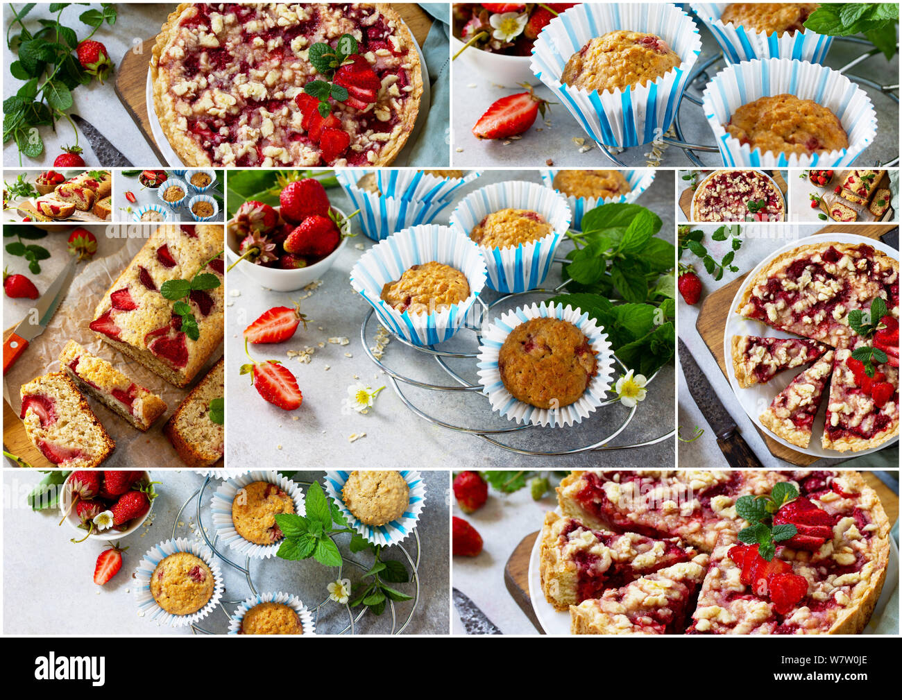 Collage summer baking. Strawberry pastries - cake, pie and muffins on a stone table. Stock Photo