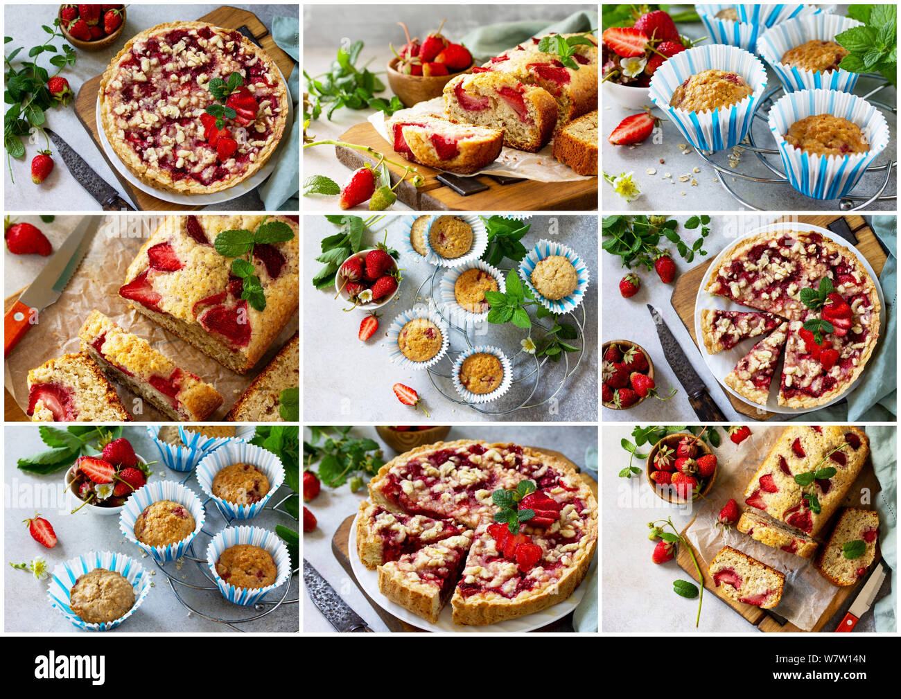 Collage summer baking. Strawberry pastries - cupcake, pie and muffins on a stone table. Stock Photo