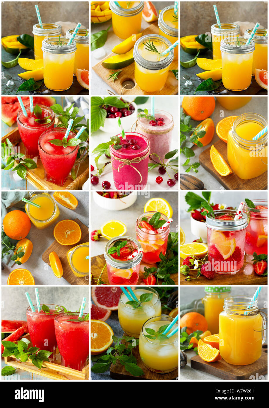 Background collage drinks. An assortment of juice drinks and smoothies on a stone table. Stock Photo