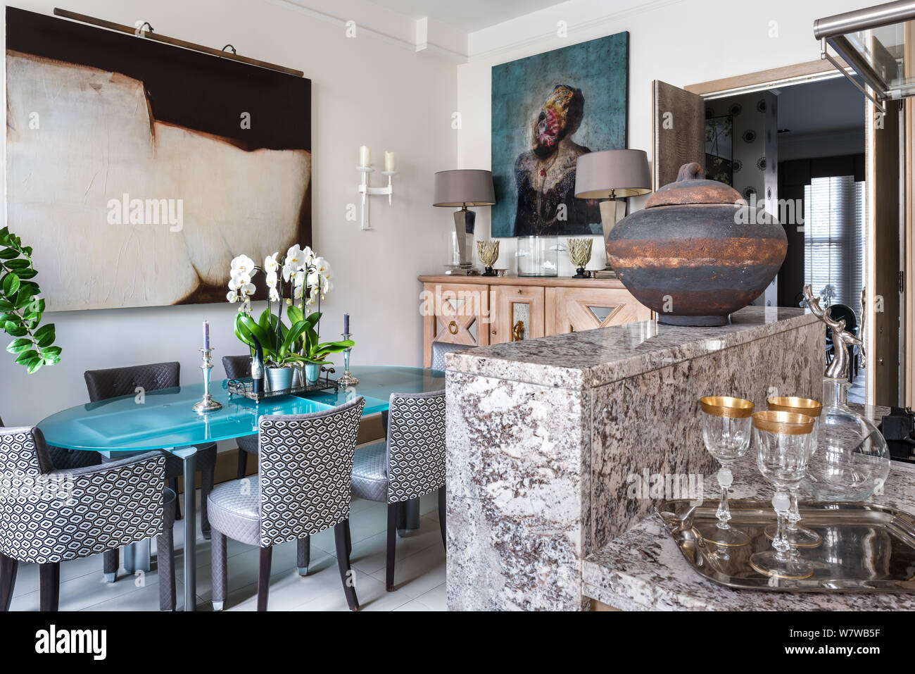 Contemporary Dining Room By Marble Kitchen Counter Stock Photo Alamy